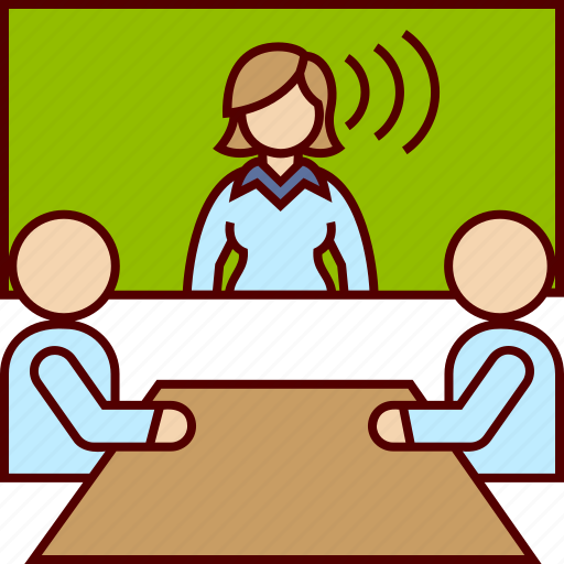 business, communication, conference, distance, meeeting, video, woman icon