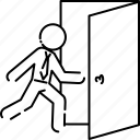 business, exit, going out, man, out, running icon