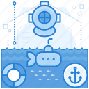 exploration, ocean, sea, underwater icon