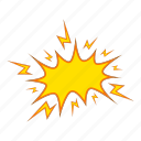 cartoon, explode, explosion, motion, object, power, sign