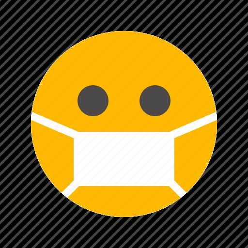emoji, emoticon, flu, health, lifestyle, mask, sick icon