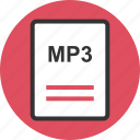 extension, file, mp3, name icon