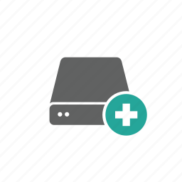 add, drive, external, new, plus, portable, server icon