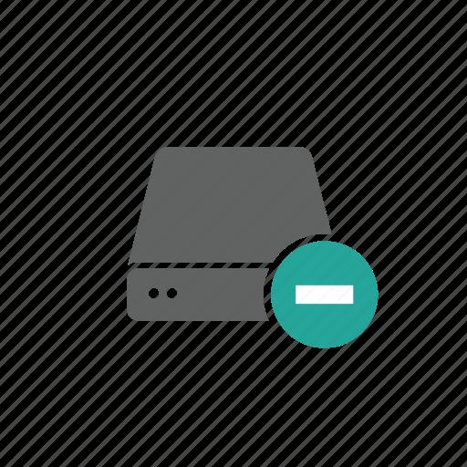 delete, drive, external, minus, portable, remove, server icon