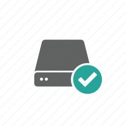 check, drive, external, portable, server, updated icon