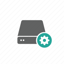 drive, external, gear, options, portable, server, setting icon