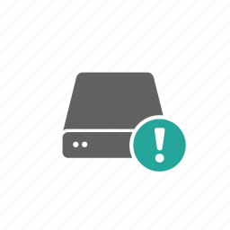 drive, error, exclamation mark, external, portable, server, warning icon