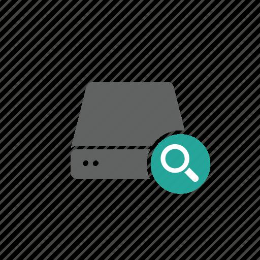 drive, external, magnify glass, portable, search, server icon
