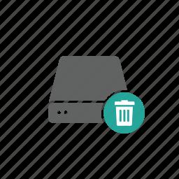 delete, drive, dvd, external, portable, server, trash icon
