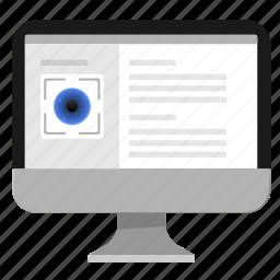biometry, data, eye, info, monitor, pc icon