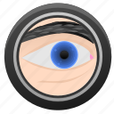 biometry, eye, frame, optics, round icon