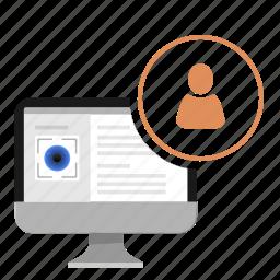 biometry, data, eye, info, personal, profile icon