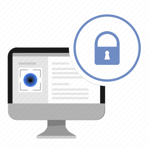 data, eye, locked, monitor, person, security icon
