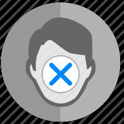 access, biometry, cancel, close, face icon