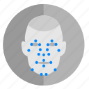 biometry, complex, data, dots, face, map, passport icon