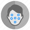 biometry, data, dots, face, pasport icon