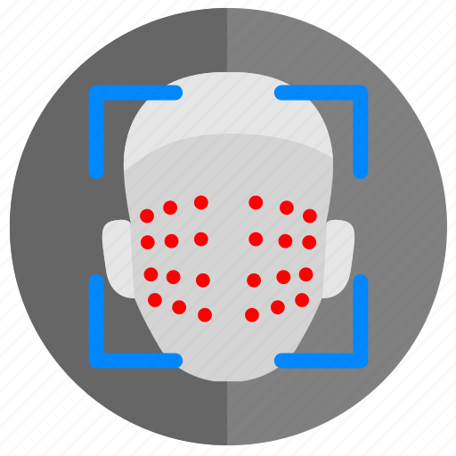 biometry, dots, face, map, person, scan icon