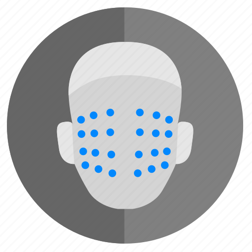 biometry, dots, face, identity, scan, skin icon