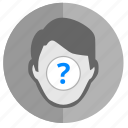 biometry, face, person, question, unknown icon