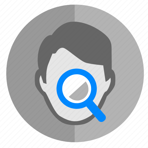 biometry, face, glass, identity, loop, magnifier, search icon