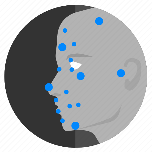 dots, face, identity, map, person, skin icon