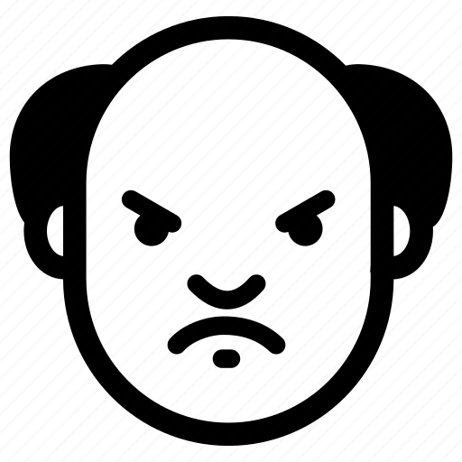 angry, emotion, evil, face, grumpy, old icon
