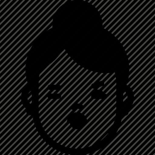 avatar, expression, face, female, flirt, kiss, woman icon