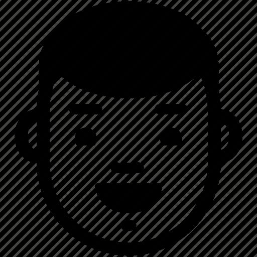 boy, emotion, face, happy, head, male, smile icon