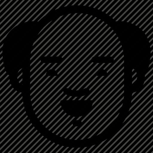 bald, face, glad, happy, man, old, smile icon