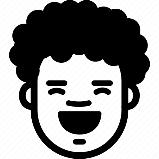 boy, curly, emotion, face, funny, happy, laugh icon