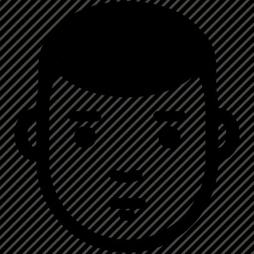boy, calm, face, had, male, man, neutral icon