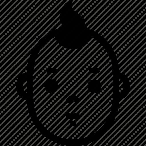 baby, boy, emotion, expression, face, head, neutral icon
