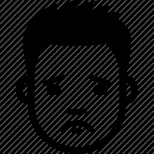avatar, emotion, face, guy, sad, sorry, upset icon