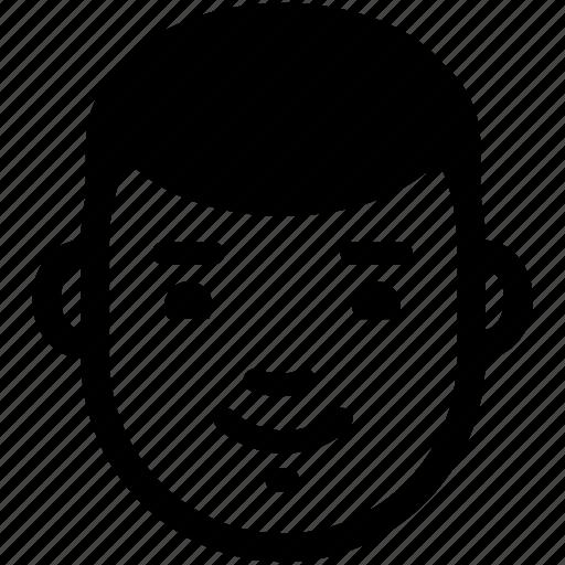 boy, content, face, glad, head, male, smile icon