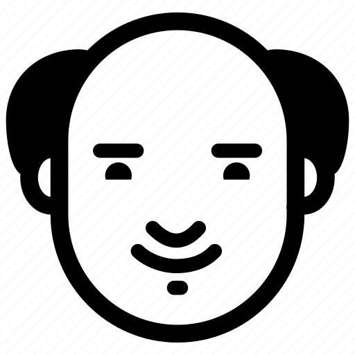 emotion, face, glad, head, man, old, smile icon