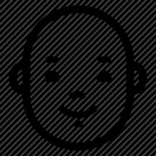 baby, content, face, glad, happy, head, smile icon