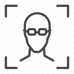authentication, face, facial, glasses, id, scan icon