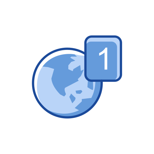 globe, notification, one notification, world map icon