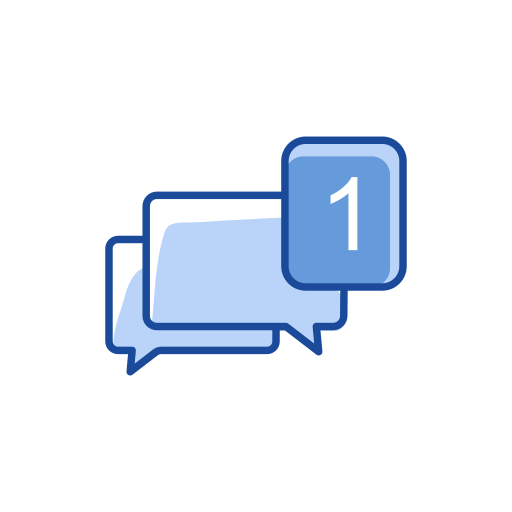 chat, inbox, message, one message icon