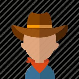american, avatar, cowboy, hat, horseman, men, texsas icon