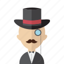 avatar, gentelmen, hat, men, monocle, oldschool, vintage icon