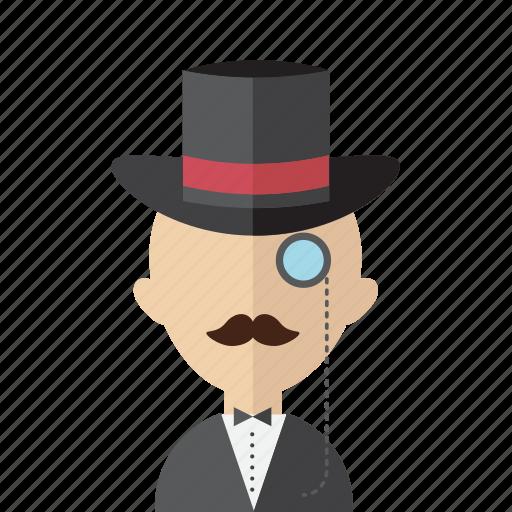 avatar, gentelmen, hat, men, monocle, oldschool, vintage icon