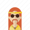 avatar, hippie, hipster, men, peace, photo, portrait icon