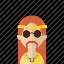 avatar, hippie, hipster, men, peace, photo, portrait icon