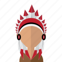 america, american, avatar, feather, indian, men, mohawk icon