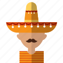 american, avatar, latino, men, mexican, mexico, sombrero icon