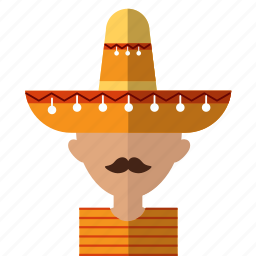 american, avatar, latino, men, mexican, mexico, sombrero icon