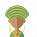 africa, afro, avatar, head, turban, women icon