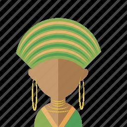 africa, afro, avatar, head, turban, women icon