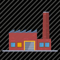 brick, building, chimney, factory, industrial, industry icon